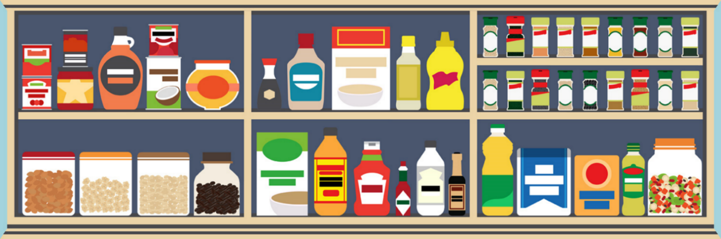 Illustration of shelves holding food products.