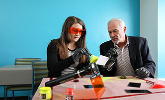 Business and Marketing faculty member, Matt Farron, speaking to a class of students.