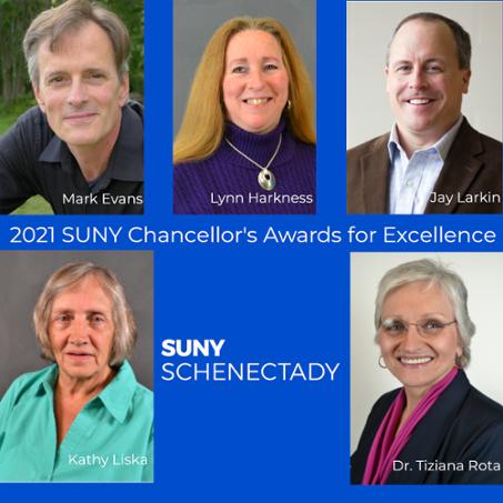 Photos of 2021 SUNY Chancellor Award recipients.