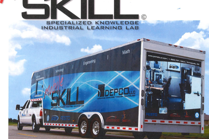 Mobile classroom hitched to a truck