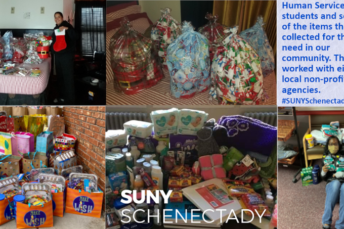 Learning and giving: Human Services students and some of the items they collected for local non-profit agencies.