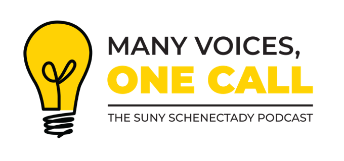 Many Voices, One Call podcast logo, lightbulb